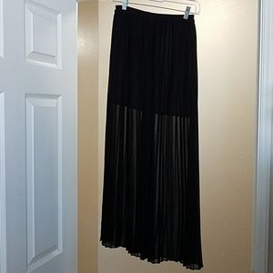 Black Mini Skirt with Long Sheer Overlay